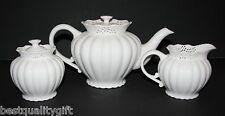 3 PC SET GRACE'S TEA WARE VICTORIAN LACE  WHITE TEA+COFFEE POT,CREAMER,SUGAR