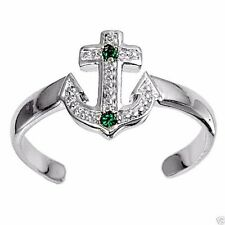 Usa Seller Adjustable Anchor Toe Ring Sterling Silver 925 Jewelry Emerald Cz