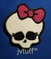 Monster High Skull with Magenta Bow Patch Embroidered Iron On Sew On BUY 3 GET 1