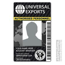 PERSONALISED Printed Novelty ID- 007 Universal Exports (JAMES BOND) Film ID