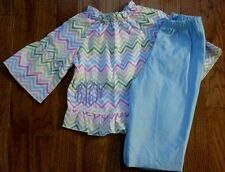 NEW LOLLY WOLLY DOODLE PANT CHEVRON TOP SET GIRLS SZ 12 MONTHS