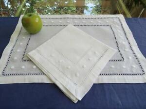 16pc Unused Crisp White Hemstitched Linen 8 Placemats 8 Napkins Drawnwork Dots