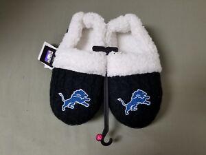 new womens NFL Detroit Lions faux sheepskin lined slippers.