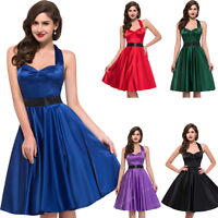 VINTAGE 50'S FORMAL WEDDING PARTY EVENING PROM GOTH PIN UP CIRCLE FLARE DRESS