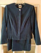 Leslie Fay Dresses Petite Ladies Suit Skirt Blazer Teal Blue size 6 Petite