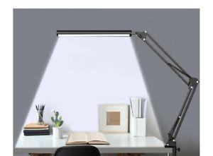 HaFundy LED Desk Lamp,Adjustable Eye-Caring Desk Light with Clamp,Swing Arm Lamp