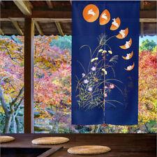 Japanese Door Curtain Noren Doorway Room Divider Drapes Blue Seven Rabbit Flower