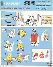 Safety Card - Olympic Aviation - ATR-42 72 - 5 Language - Light Blue (S3557)