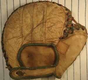 1920's Spalding DW pancake baseball 1st base mitt/glove w/nice patch youth RH