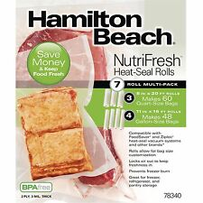 Hamilton Beach NutriFresh Heat Seal Food Saver Vacuum Rolls Sealer, 7 Count