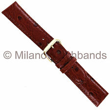 20mm deBeer Havana Ostrich Grain Genuine Italian Calfskin Leather Watch Band