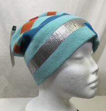Bula Winter Ski Cap Hat Beanie Merino Wool Blend Teal Striped Silver Blue Orange