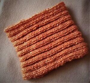 Ladies Headband, Neck Warmer, Pony Tail Beanie. Burnt Orange Shimmer. Extra Soft