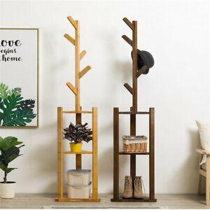 180cm Bamboo Standing Coat Hat Rack Bag Hanger Tree Clothes Shoe Storage Holder