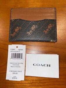 NWT $78 Coach C4287 Slim ID Card Case Horse & Carriage Black Multi