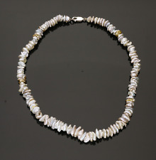 CULTURED KESHI PEARL NECKLACE.  NATURAL GREY COLOURS.   17 inches.  8.5mm Pearl