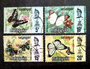 Malaysia 1977 Selangor Harrison Butterflies Photogravure Printing - 4v Used #1