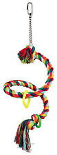Spiral Rope Perch with Toy Rings Bird Toy for Budgies Cockatiels 50cm