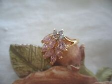 ANTIQUE VINTAGE GOLD RING SIZE 8 or Q with PINK and WHITE SAPPHIRE STONES