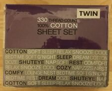TWIN 330 THREAD COUNT SHEET SET - 100% COTTON - COLOR PURPLE - NWT