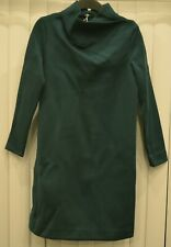 Womens COS dark green long sleeve folded cowl neck dress size large $115 tag NWT