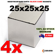 4X Neodymium Rare Earth Block Cube Magnets 25x25x25 N50