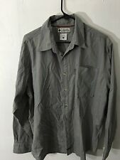 Columbia Button Down Shirt, Size xl, gray with orange and black shape stripes