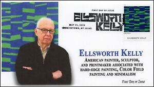 19-126, 2019, Ellsworth Kelly, Pictorial Postmark, FDC, Artist, Spencertown NY
