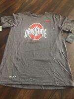 New Nike Mens Ohio State Buckeyes Short sleeve Shirt Size Small Gray