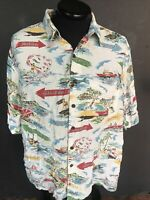Vtg Reyn Spooner Hawaiian Shirt Mens Large Malibu Key West Padre Laguna Surfing