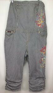 Womens Baby Phat Denim Strapless Striped Embroidered Jumpsuit Size 22