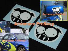 """2x 4"""" 10.2cm Scobby Pig decal sticker Solberg Subaru WRC WRX Scooby JDM funny GD"""