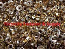 (5) 5/16-18 Grade 8 Serrated LARGE Flange Hex Lock Nut Spin / Wiz Nuts 5/16x18