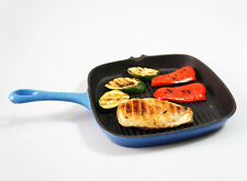 24cm wide BLUE CAST IRON SQUARE GRIDDLE SKILLET FRY GRILL PAN Enamelled Frying