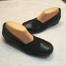 Padders Shella Black Leather Loafer Dual Fit EU 40 UK 6 6.5 US 8 8.5 Extra Wide