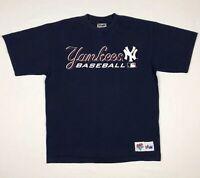 Vtg New York Yankees Mens Diamond Collection S/S T-Shirt Sz Large 90s Blue A5
