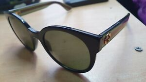 GUCCI GG0035S  Round Oval Black Green Red 54 mm Women's Sunglasses