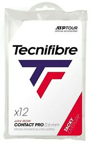 Tecnifibre CONTACT PRO Tennis Racket Overgrips - 12 Pack - White - 0.6mm