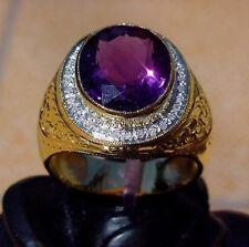 Men's 18K Gold Amethyst Diamond Ring