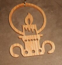 Wooden Stencil Cut Candle Light Holiday Christmas Ornament - Very Good Shape
