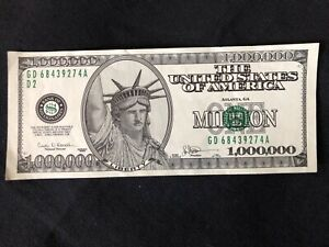 Million Dollar Bill - authentic looking, Serial Number, Treasury Seal, Liberty