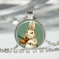 "BUNNY RABBIT MUSIC ANIMAL charm pendant 20"" Sterling Silver 925 necklace gift"