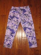 Spider Web Purple Print Capri Stretch Leggings JRS One Size NEW OS