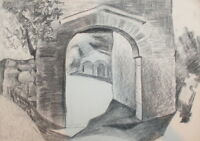 Landscape vintage pencil drawing arch