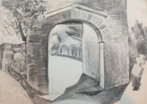 Landscape vintage pencil drawing arch