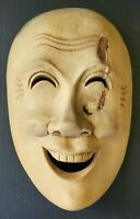 Vintage Mid-Century Modern Hand Carved Wood Sculpture Odd Unique Whimsical Face