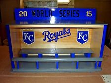 Royals display case for bobbleheads Dugout style  World Series 2015  pine wood