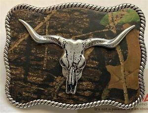 NOCONA BELT BUCKLES Mossy Oak Camo Longhorn Rope Edge Rectangle Western NWT Box!