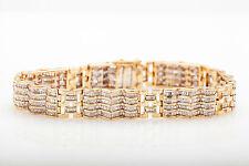 Estate $16,000 10ct Baguette Diamond 14k Yellow Gold 14mm Tennis Bracelet 47g
