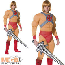 He Man Mens Fancy Dress Superhero 1980s Muscle Cartoon Adults Costume Outfit New